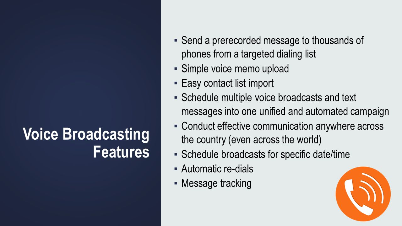Voice Broadcasting Features