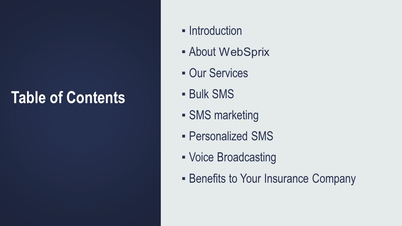 Table of Contents Introduction About WebSprix Our Services Bulk SMS