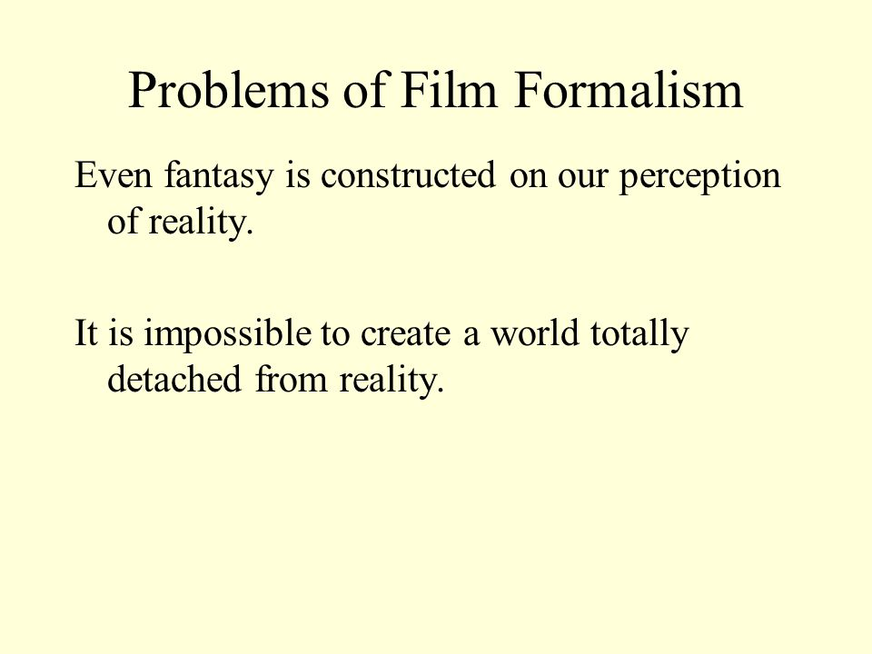 Problems of Film Formalism