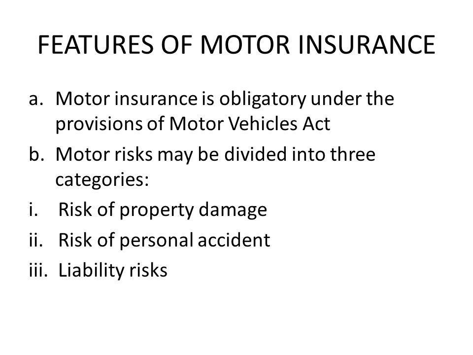 FEATURES OF MOTOR INSURANCE