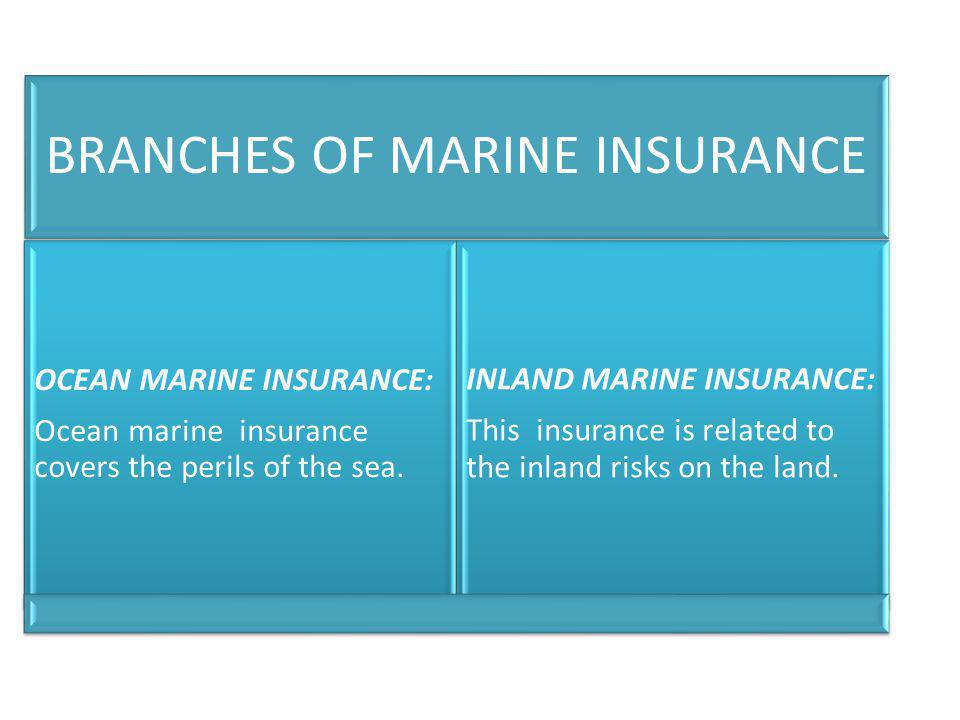 BRANCHES OF MARINE INSURANCE