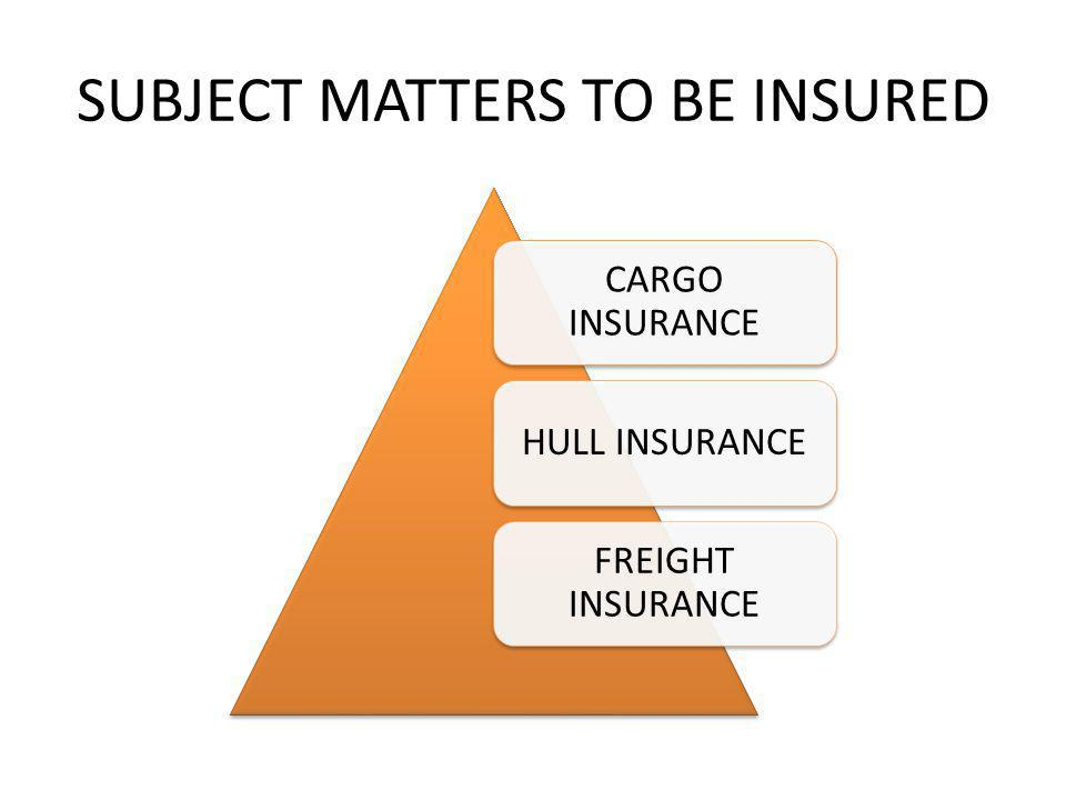 SUBJECT MATTERS TO BE INSURED
