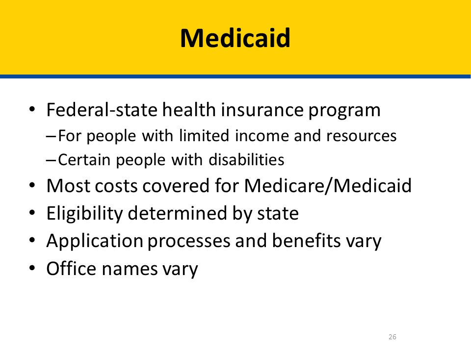 Medicaid Federal-state health insurance program