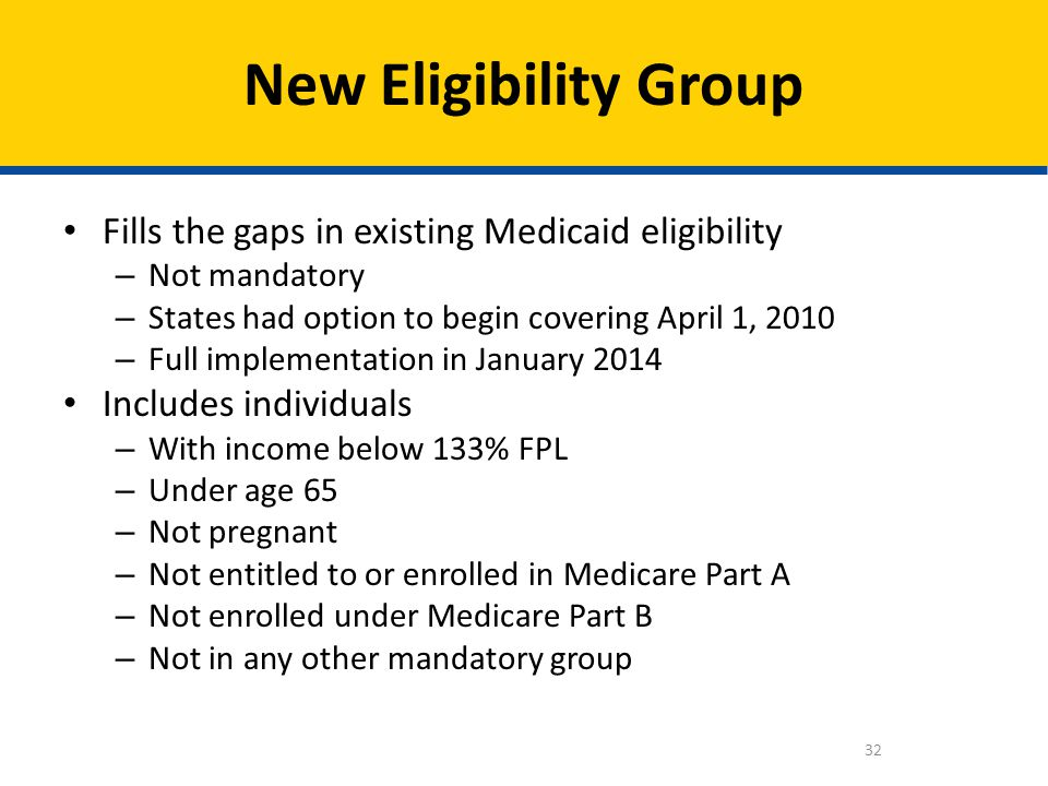 New Eligibility Group Fills the gaps in existing Medicaid eligibility