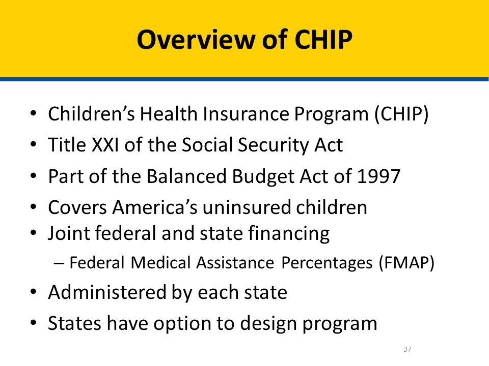 Overview of CHIP Children's Health Insurance Program (CHIP)