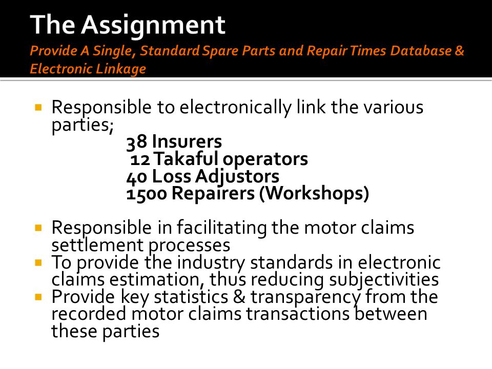 The Assignment Provide A Single, Standard Spare Parts and Repair Times Database & Electronic Linkage