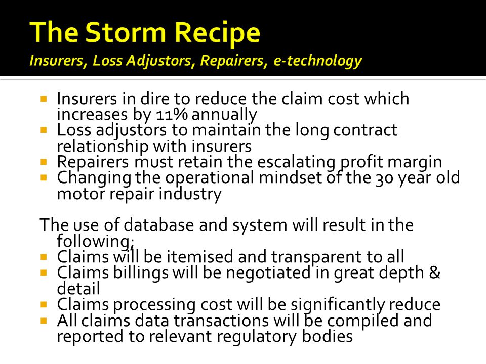 The Storm Recipe Insurers, Loss Adjustors, Repairers, e-technology