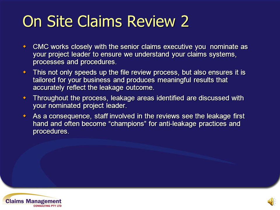 On Site Claims Review 2