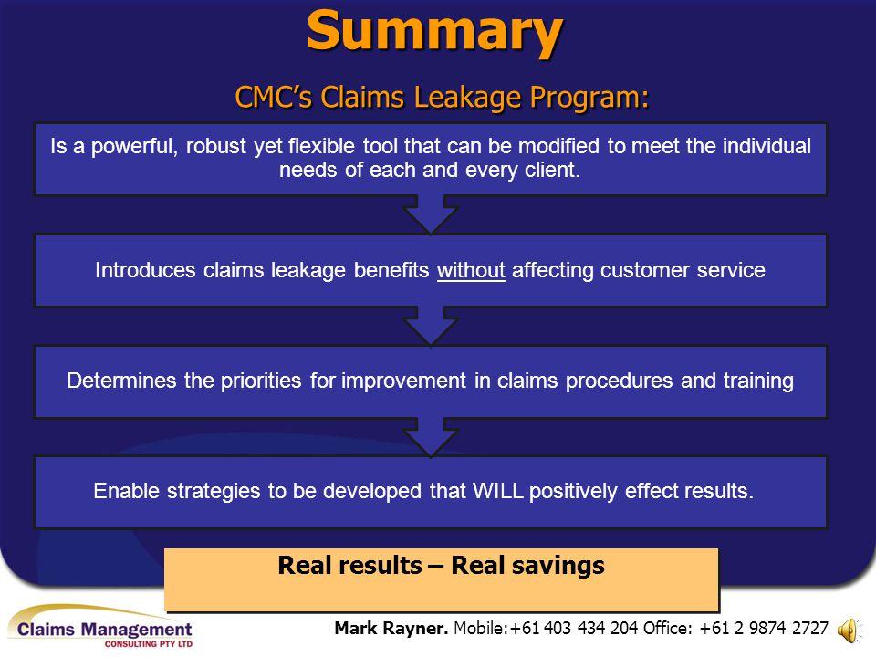 Summary CMC's Claims Leakage Program: