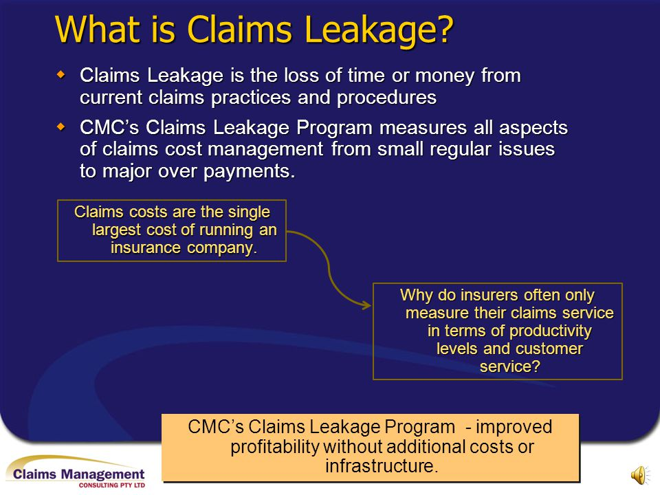 What is Claims Leakage Claims Leakage is the loss of time or money from current claims practices and procedures.