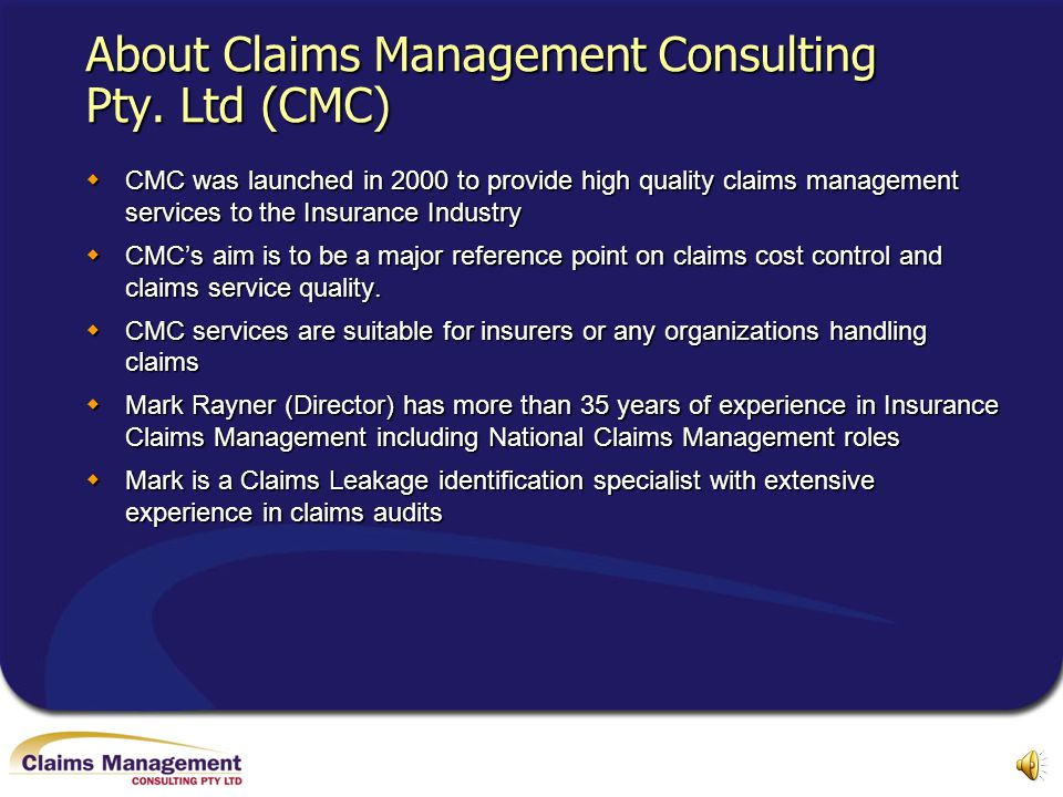 About Claims Management Consulting Pty. Ltd (CMC)