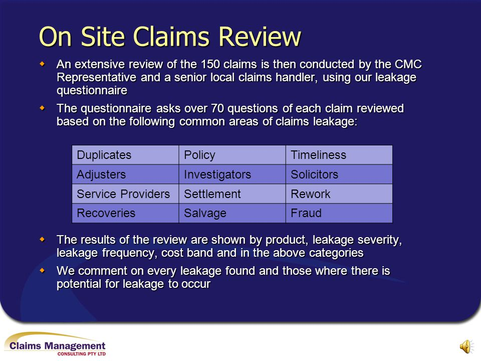 On Site Claims Review