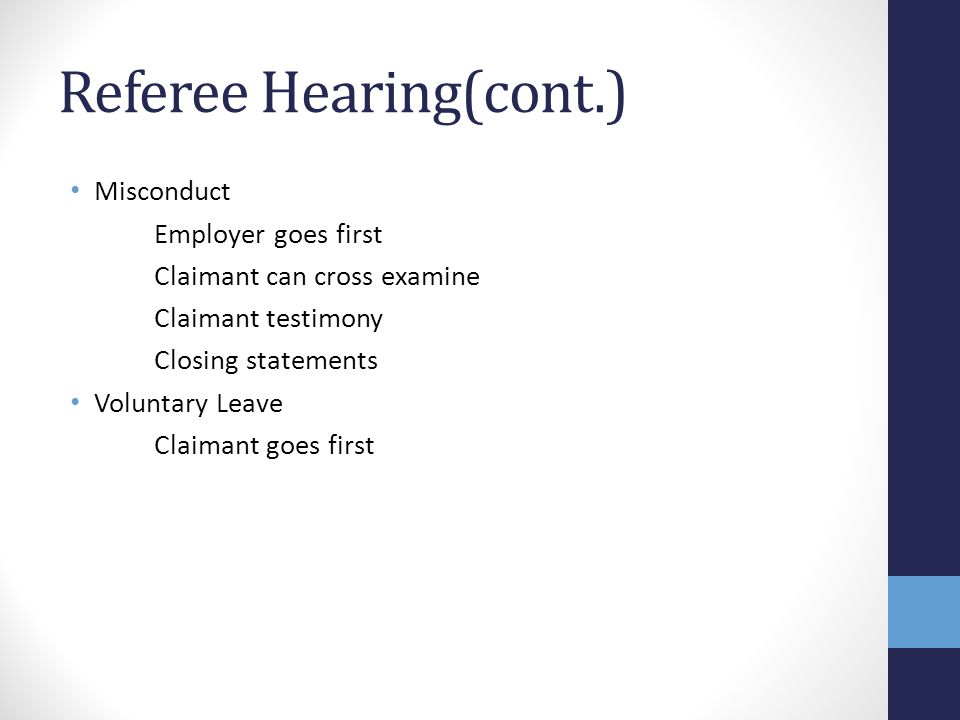 Referee Hearing(cont.)