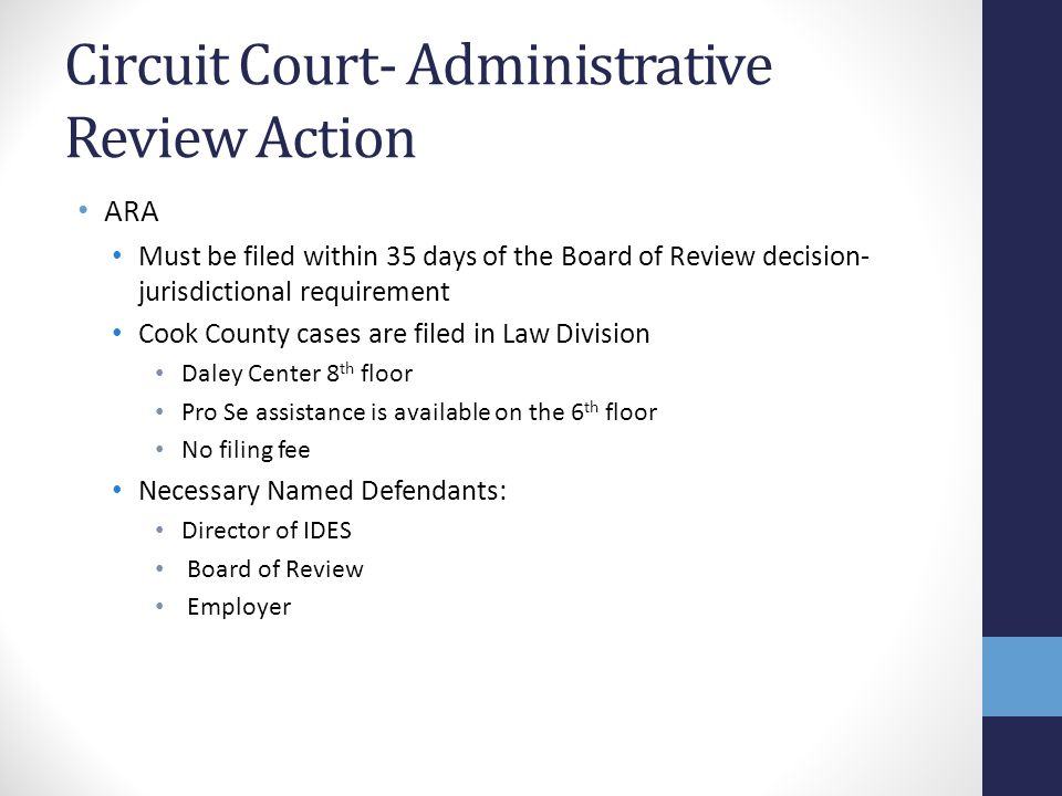 Circuit Court- Administrative Review Action