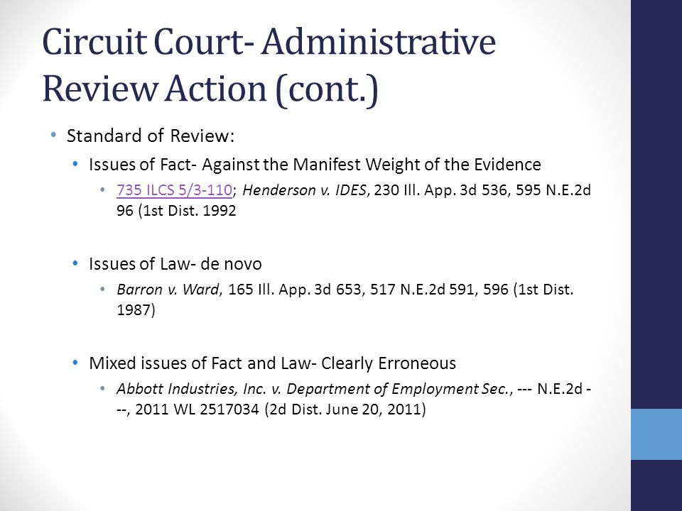 Circuit Court- Administrative Review Action (cont.)