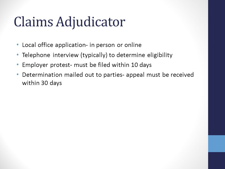 Claims Adjudicator Local office application- in person or online