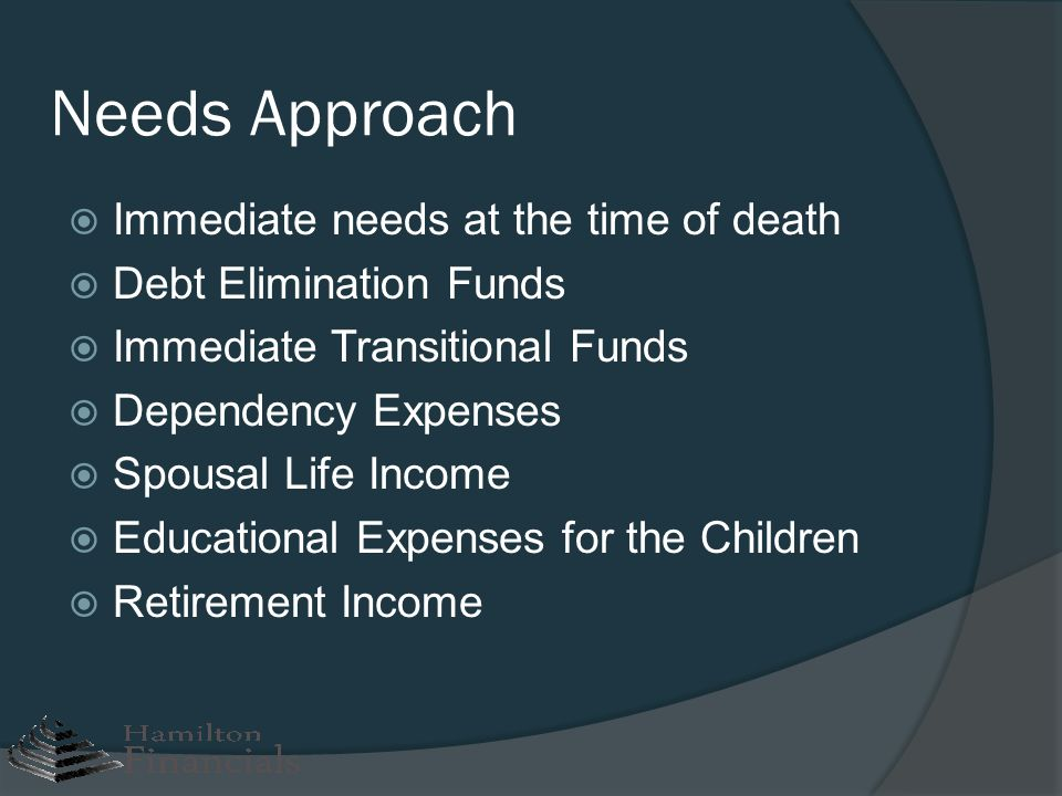 Needs Approach Immediate needs at the time of death
