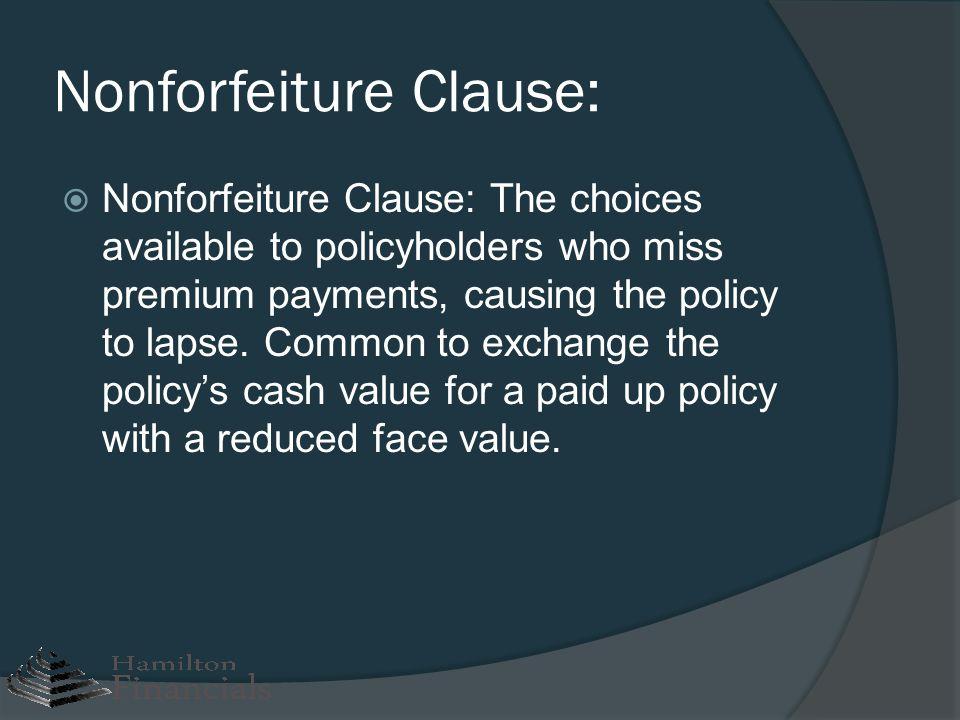 Nonforfeiture Clause: