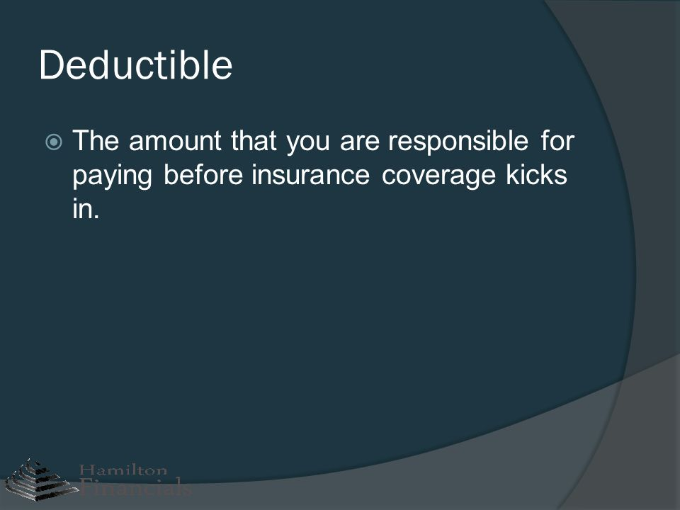 Deductible The amount that you are responsible for paying before insurance coverage kicks in.