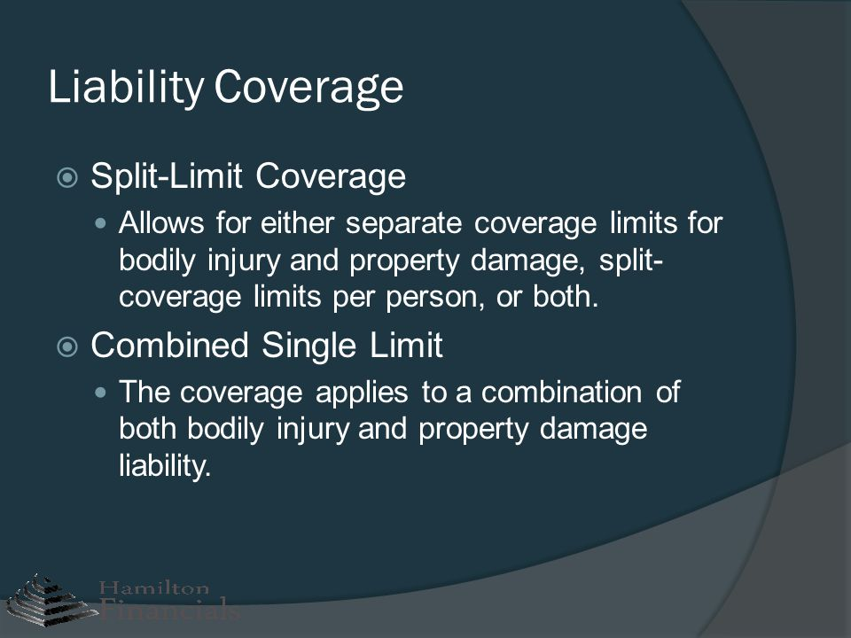 Liability Coverage Split-Limit Coverage Combined Single Limit