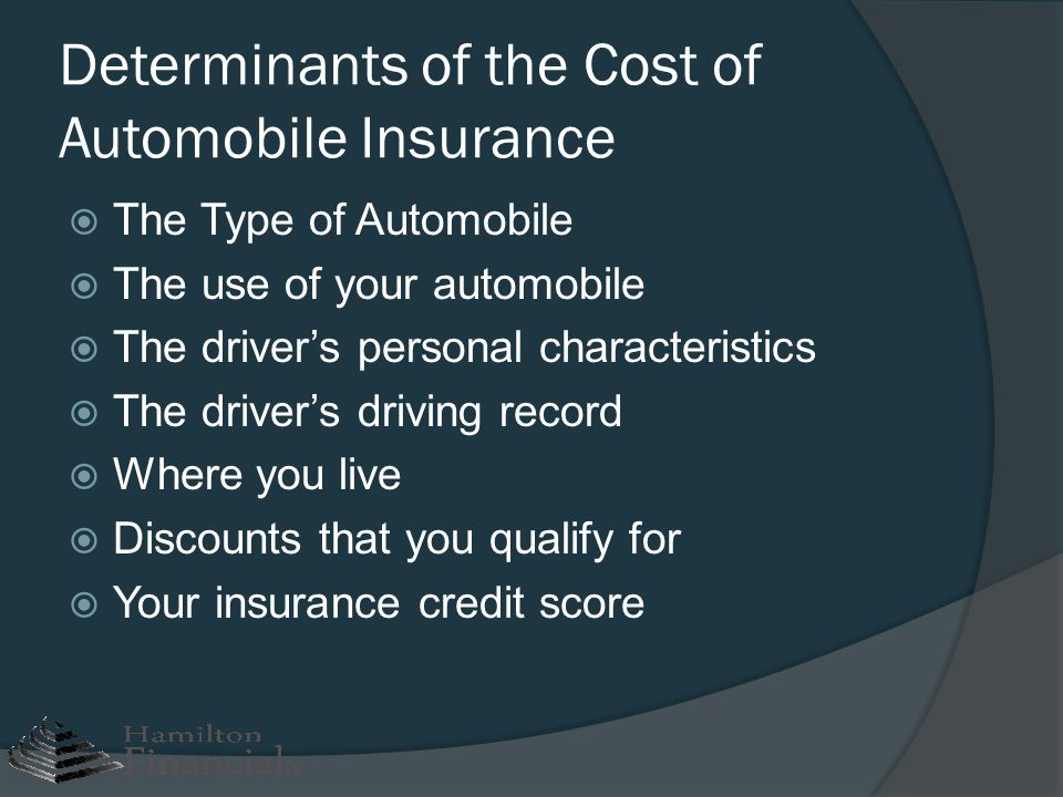 Determinants of the Cost of Automobile Insurance