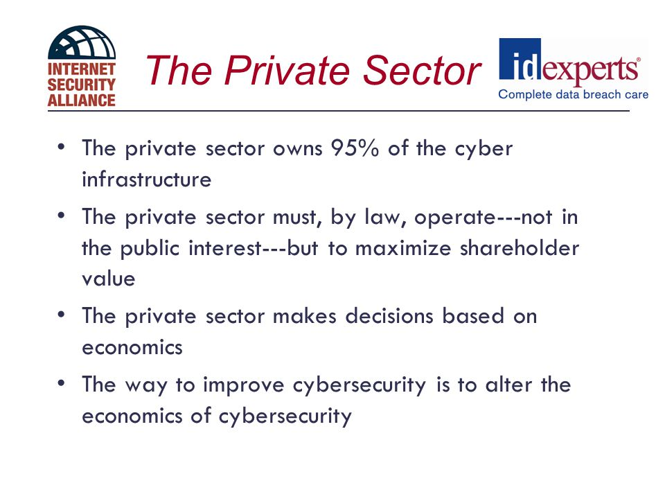 The Private Sector The private sector owns 95% of the cyber infrastructure.