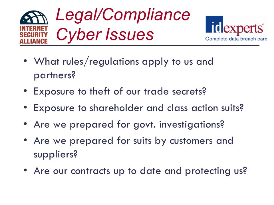 Legal/Compliance Cyber Issues