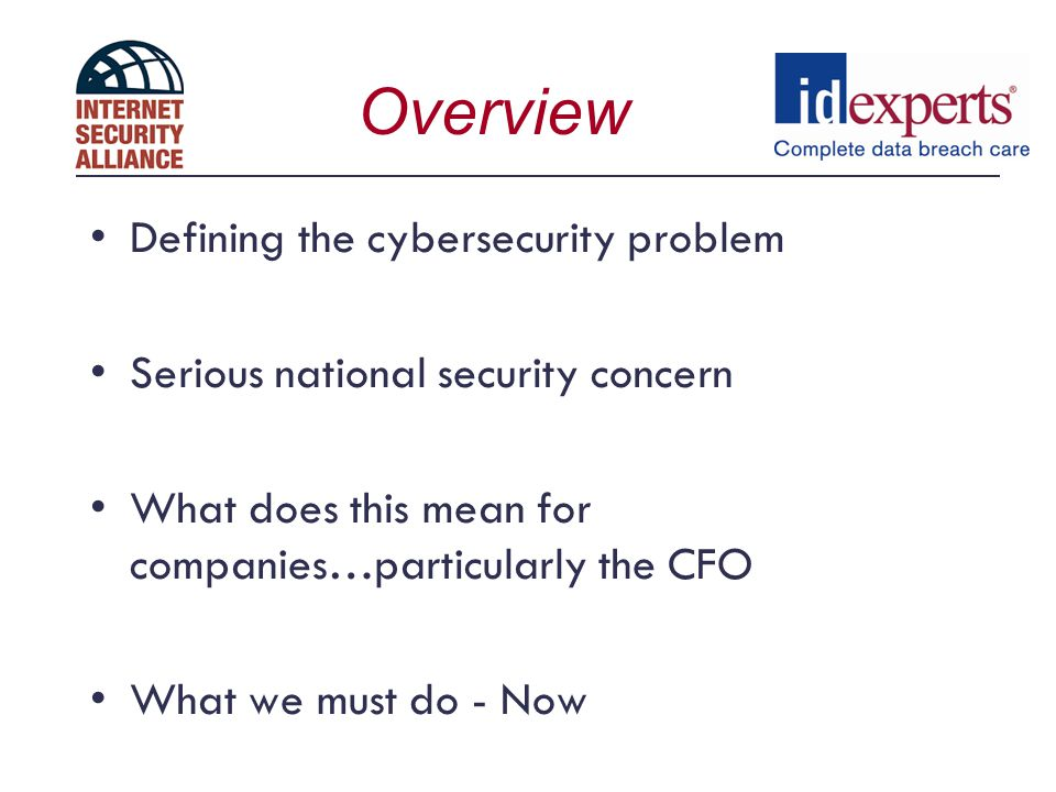 Overview Defining the cybersecurity problem