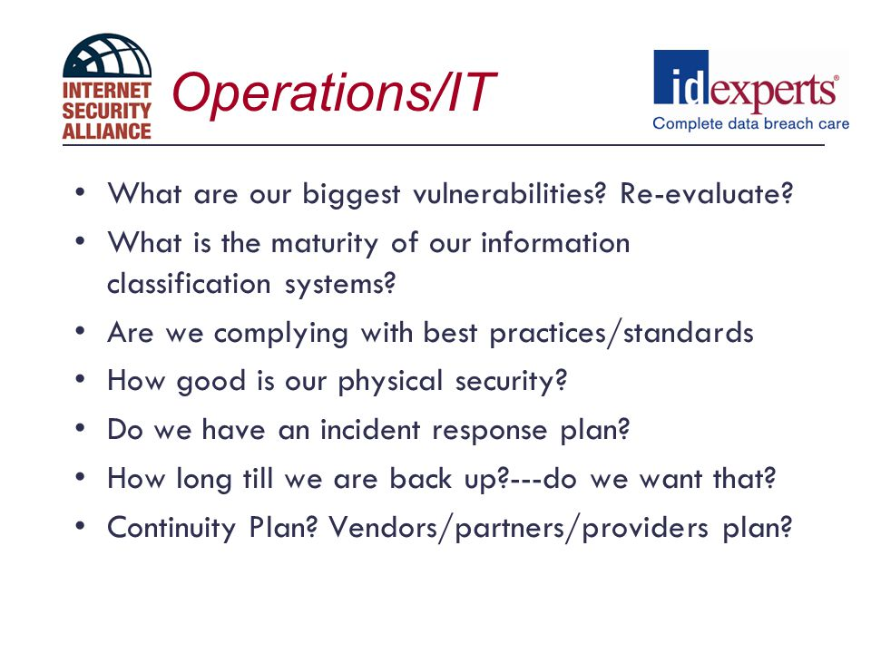 Operations/IT What are our biggest vulnerabilities Re-evaluate