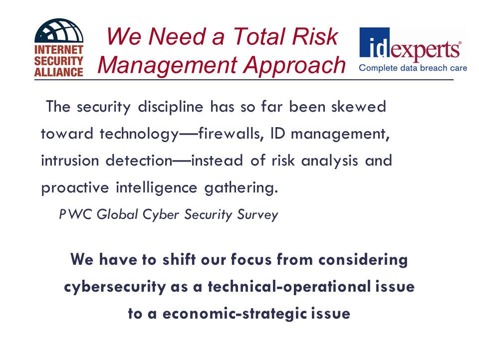 We Need a Total Risk Management Approach