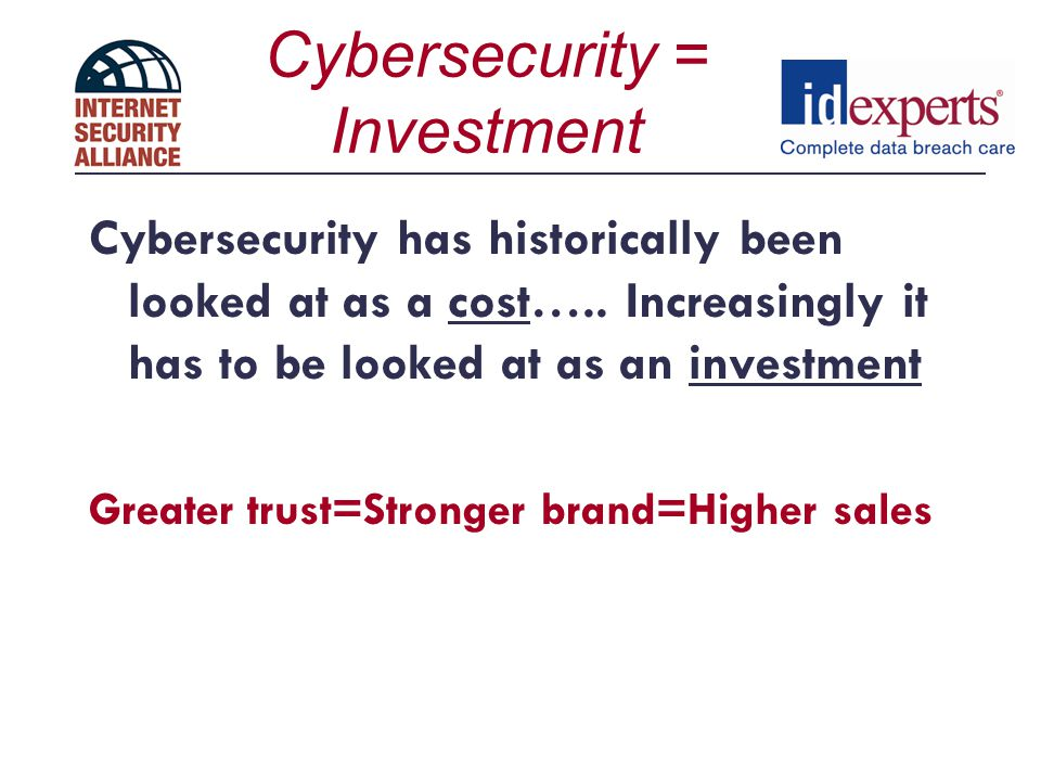 Cybersecurity = Investment