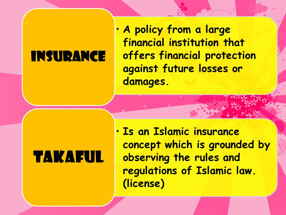 INSURANCE A policy from a large financial institution that offers financial protection against future losses or damages.