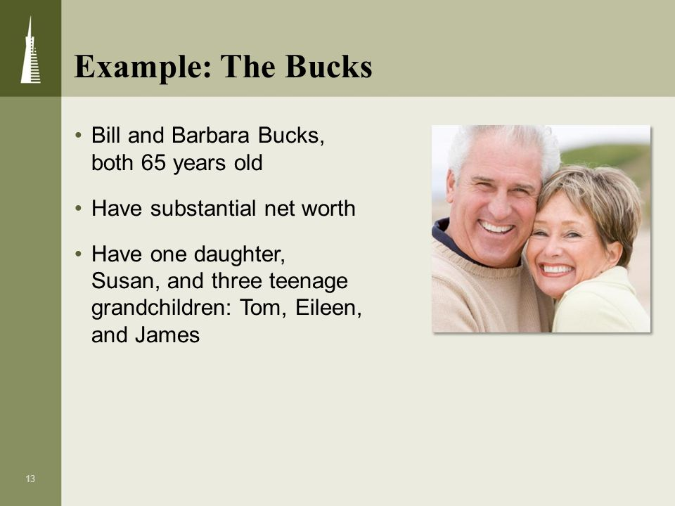 Example: The Bucks Bill and Barbara Bucks, both 65 years old
