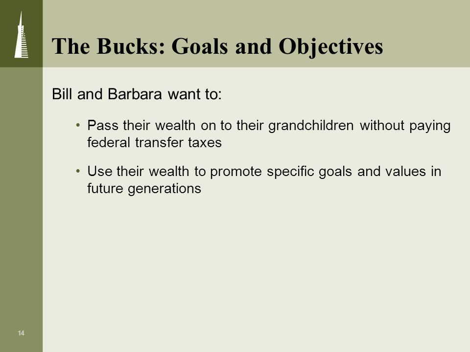 The Bucks: Goals and Objectives