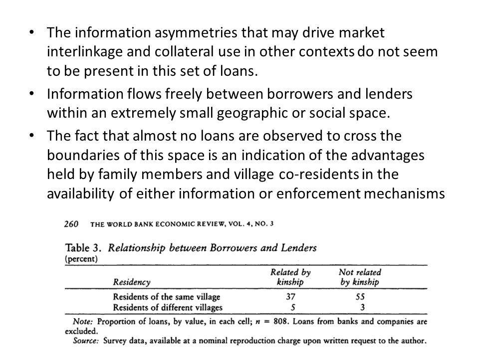 The information asymmetries that may drive market interlinkage and collateral use in other contexts do not seem to be present in this set of loans.