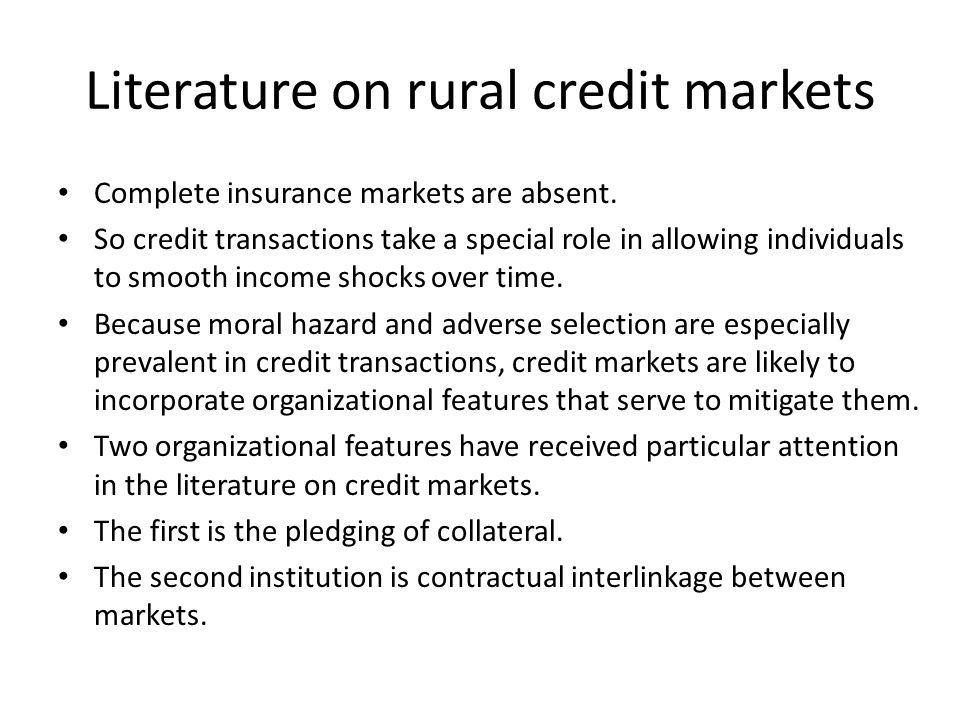 Literature on rural credit markets