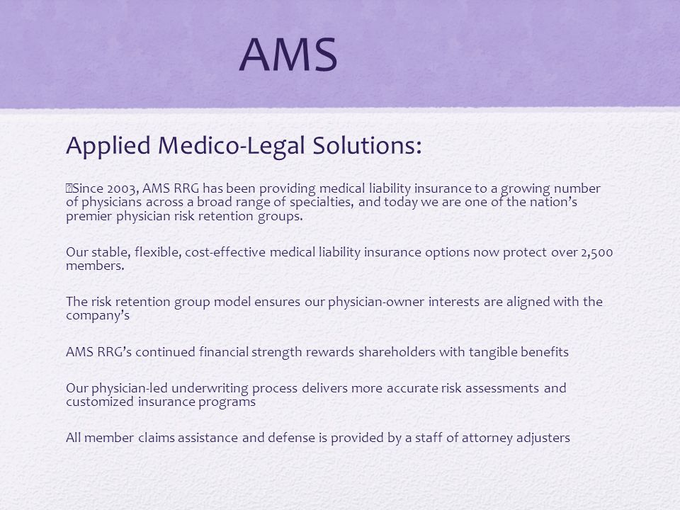 AMS Applied Medico-Legal Solutions: