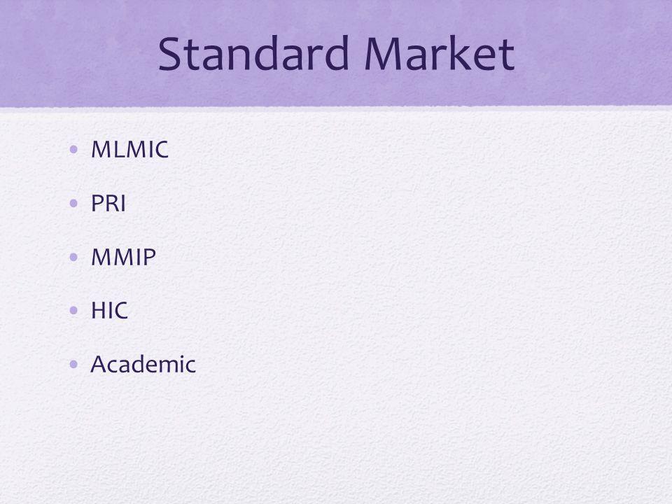 Standard Market MLMIC PRI MMIP HIC Academic