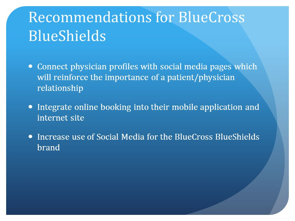 Recommendations for BlueCross BlueShields