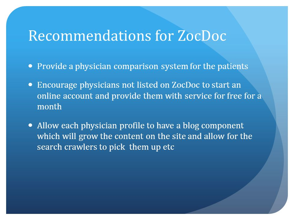Recommendations for ZocDoc