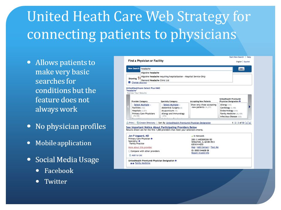 United Heath Care Web Strategy for connecting patients to physicians