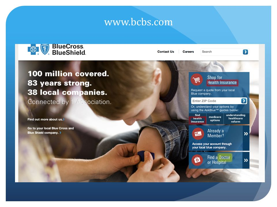 www.bcbs.com Very user-friendly homepage – emphasizes is on finding a health insurance plan but notice finding a Doctor is capitalized.