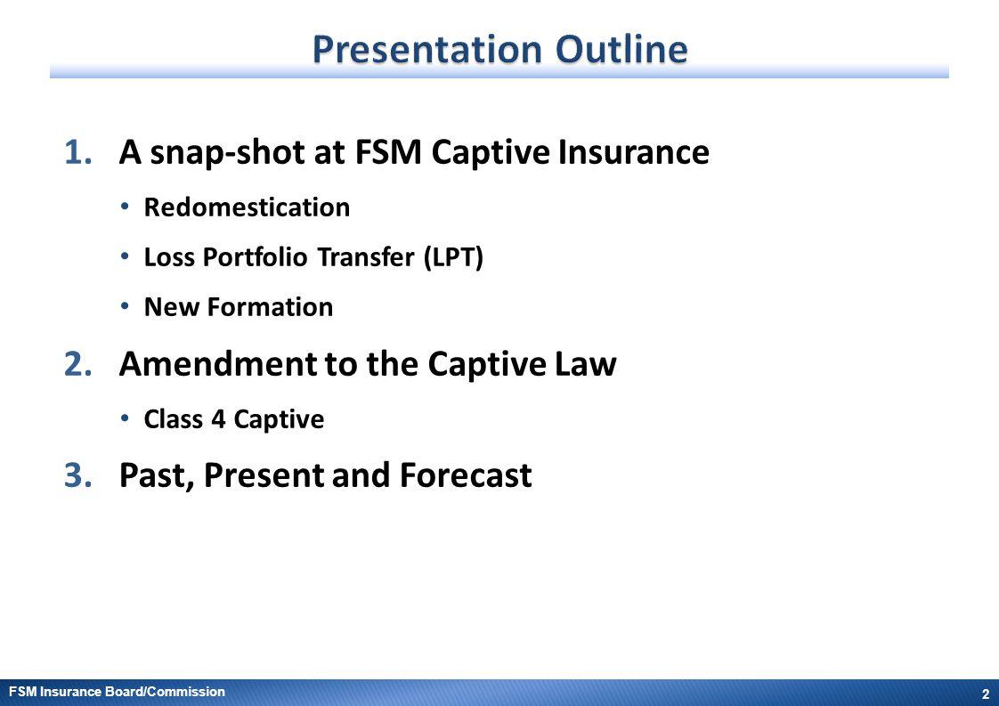 Presentation Outline A snap-shot at FSM Captive Insurance
