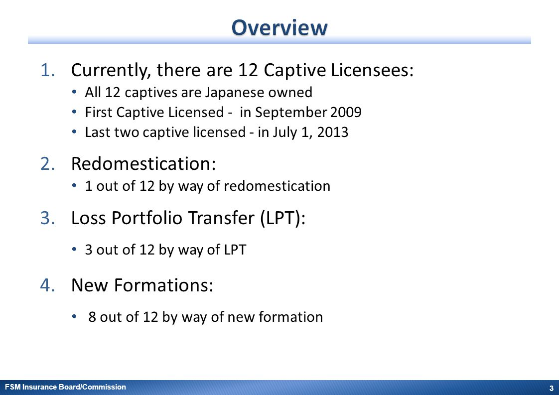 Overview Currently, there are 12 Captive Licensees: Redomestication: