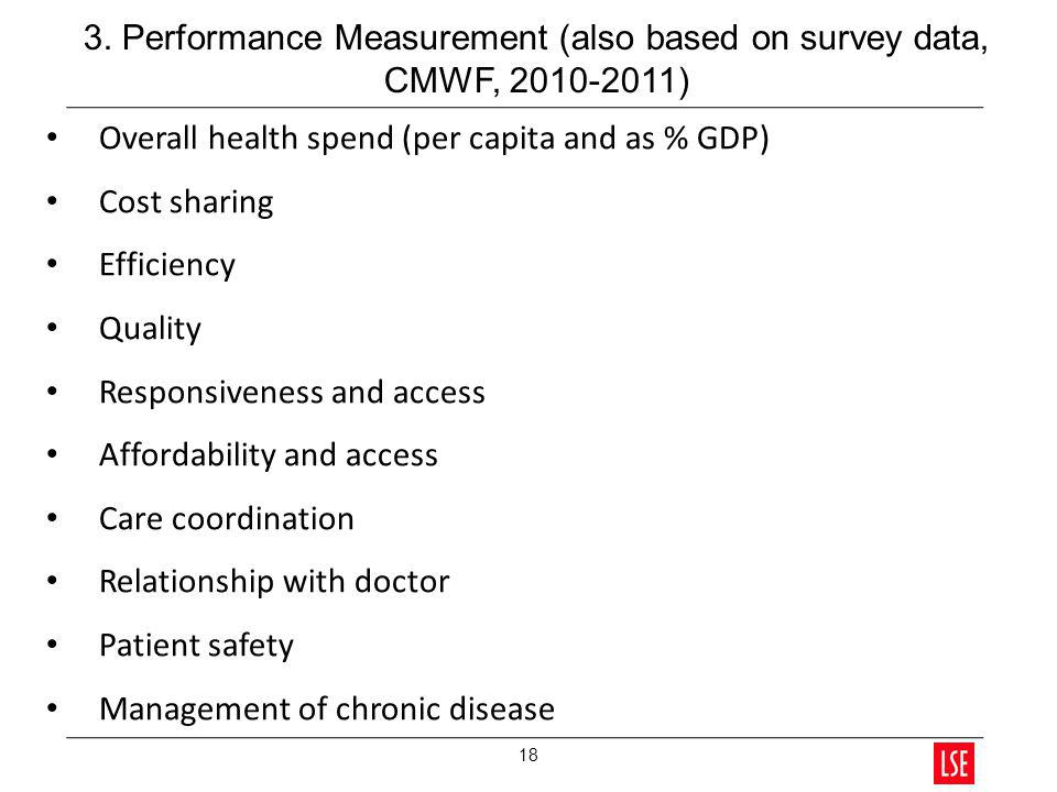Overall health spend (per capita and as % GDP) Cost sharing Efficiency