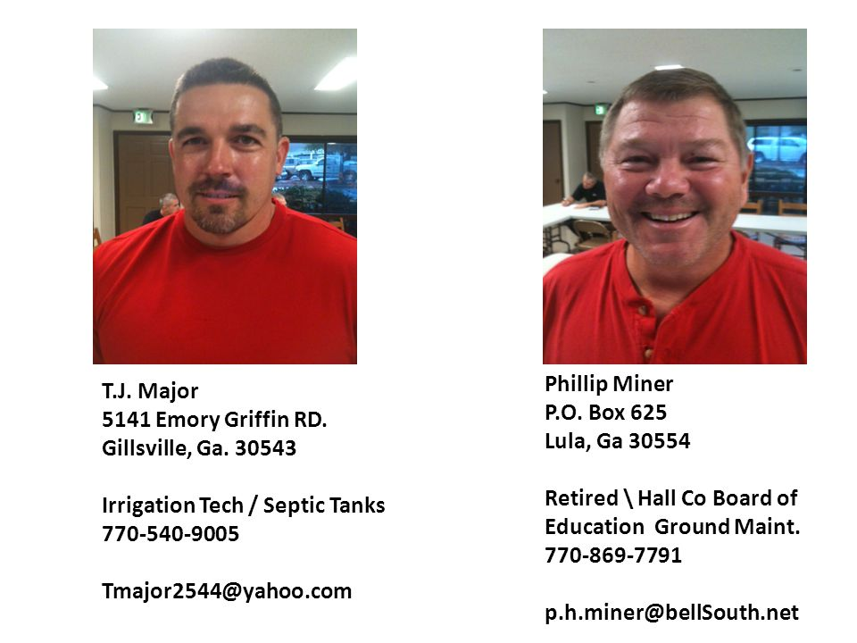 Phillip Miner P.O. Box 625. Lula, Ga 30554. Retired \ Hall Co Board of Education Ground Maint. 770-869-7791.