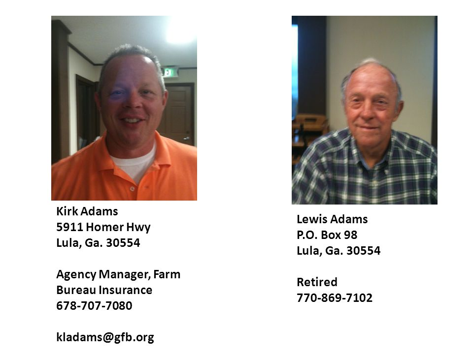 kirk adams 5911 homer hwy lula ga 30554 agency manager farm