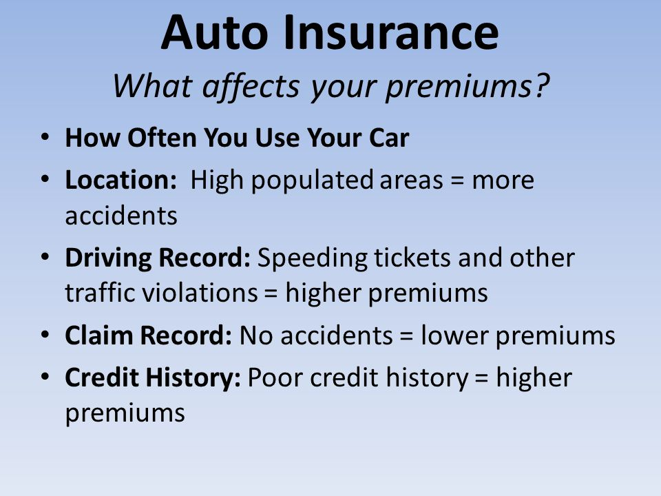 Auto Insurance What affects your premiums