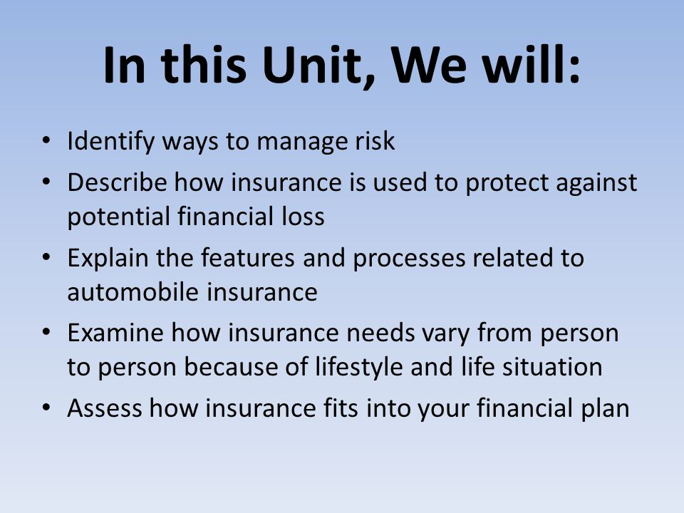 In this Unit, We will: Identify ways to manage risk