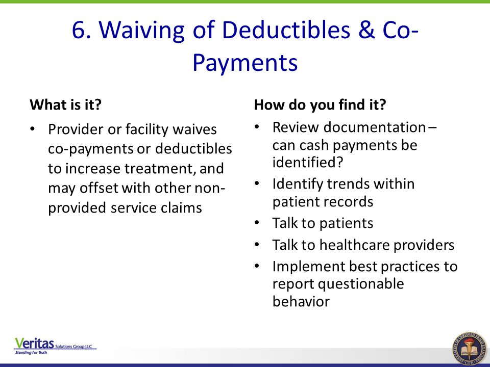 6. Waiving of Deductibles & Co-Payments